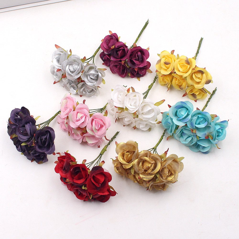 6Pcs Simple Red Rose Artificial Flowers For Wedding Home Decoration Jewelry Accessories Fleurs Scrapbooking DIY Craft Supplies