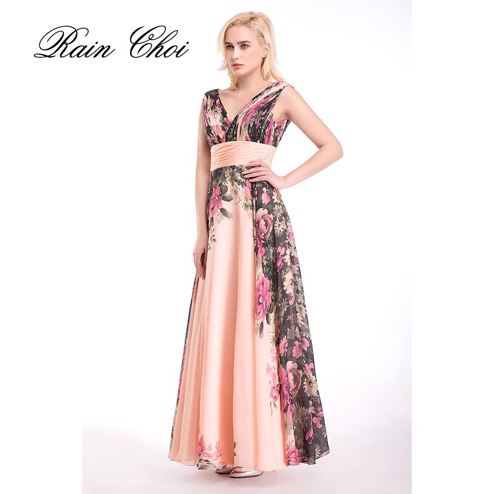 Imprimé Floral nouveauté Sexy en mousseline de soie longues robes de bal longue soirée courte robe de bal 2019