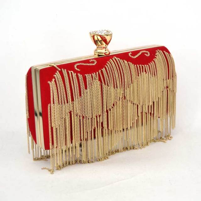 6f42acf8ee6 Luxury tassel diamond spherical evening bag gold and Red crystal pearl clutch  bag women purses and handbags small round hand bag