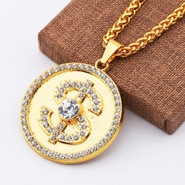 New Round Dollar US Money Sign Pendant Necklace with Rhinestone Crystal Link Chains Gold Hip Hop Fashion Jewelry for Men Women
