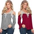 Autunm novas das senhoras das mulheres T-shirt de manga comprida Com Decote Em V com rendas costura cor sólida blusas femininas ropa mujer hot sale TT51