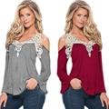 Nuevas mujeres Autunm ladies T-shirt de manga larga Con Cuello En V con costura de encaje color sólido superior femenina ropa de mujer venta caliente TT51