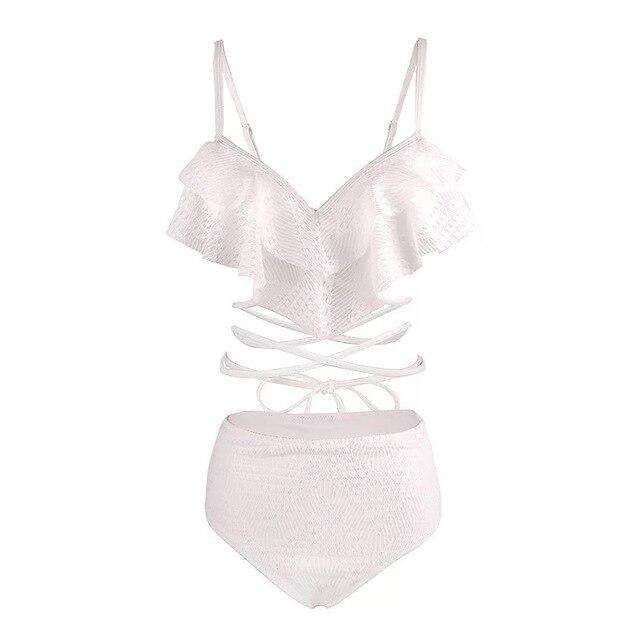 2 Piece Swimsuit Women High Leg Bikini Swim Suits Swimming Women's Wear 2019 Korea Ins Light Luxury White Lace Waist Bind Woman 4