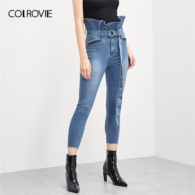 COLROVIE Blue Ruffle Waist Skinny Casual   Jeans   With D-Ring Belt Women 2019 Spring Fashion High Waist   Jeans   Female Pocket Pants