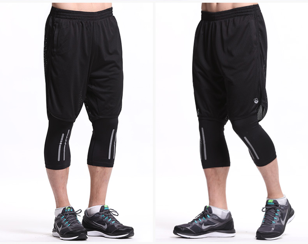 Leevy Quick Dry Fitness Tights Double Layer Men Compression Running Leggings Men\`s GYM Sports Cropped Trousers Training Tights (6)
