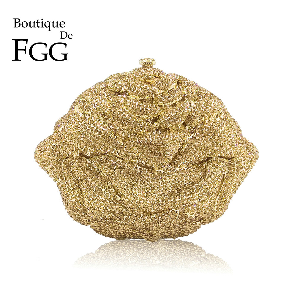 Boutique De FGG Shiny Bling Gold Crystal Women Flower Evening Bags Wedding Party Bridal Diamond Floral Handbag Clutch PurseBoutique De FGG Shiny Bling Gold Crystal Women Flower Evening Bags Wedding Party Bridal Diamond Floral Handbag Clutch Purse