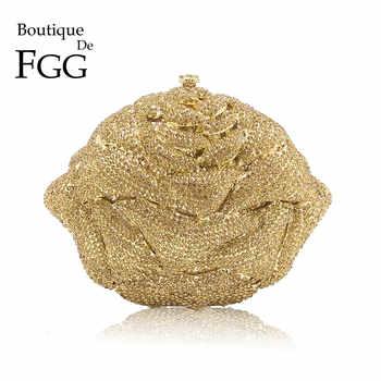 Boutique De FGG Shiny Bling Gold Crystal Women Flower Evening Bags Wedding Party Bridal Diamond Floral Handbag Clutch Purse - Category 🛒 Luggage & Bags