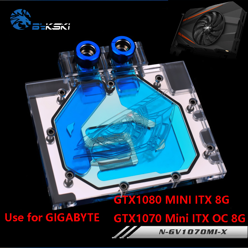 BYKSKI Full Cover Graphics Card Water Block use for GIGABYTE GTX1080MINI-ITX-8G / GTX1070MINI-ITX-OC-8G Radiator Block RGB