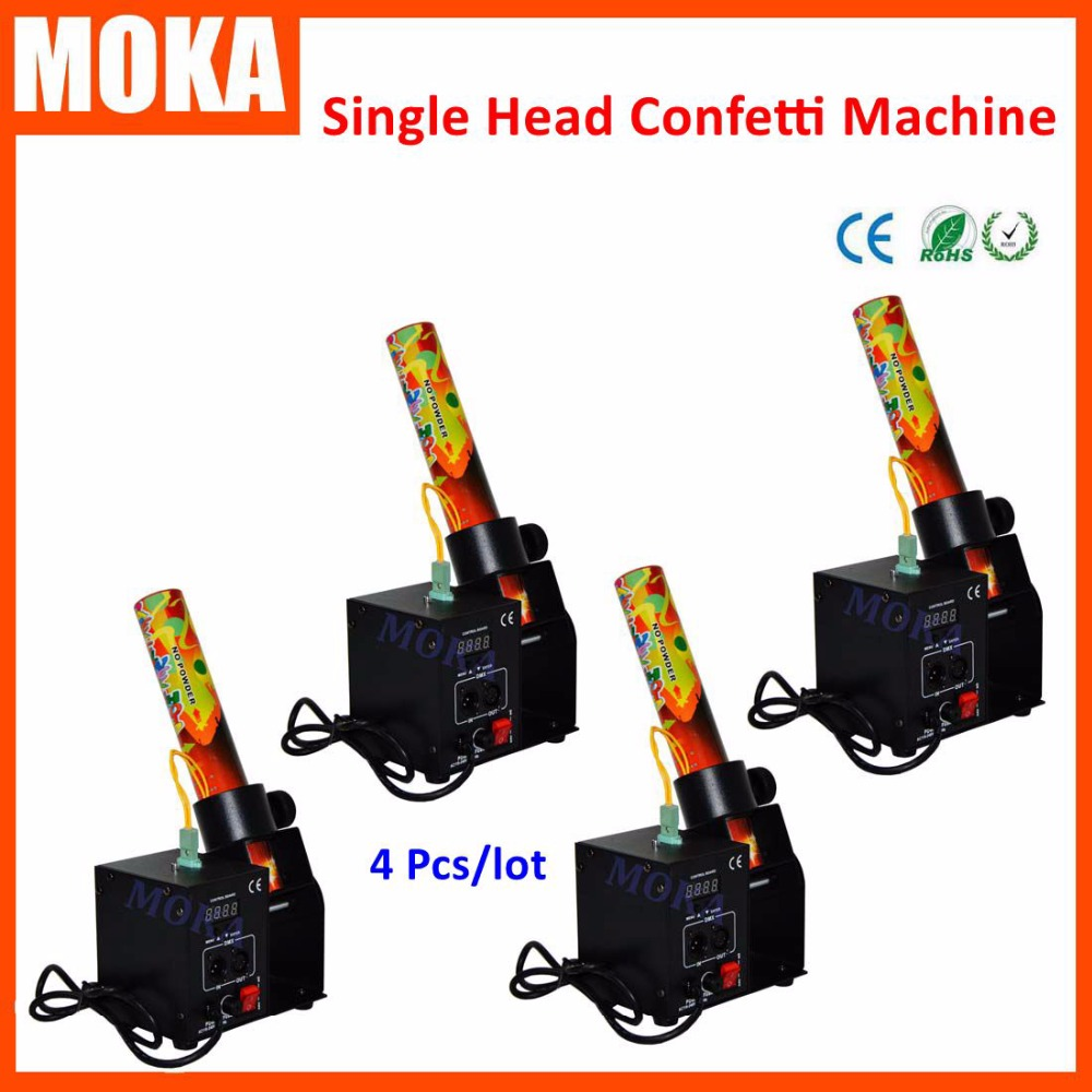 4 Pcs/lot Single Nuzzle one head Cannon Confetti Machine DMX Control confetti shot for wedding Disco Party Effects DJ equipment