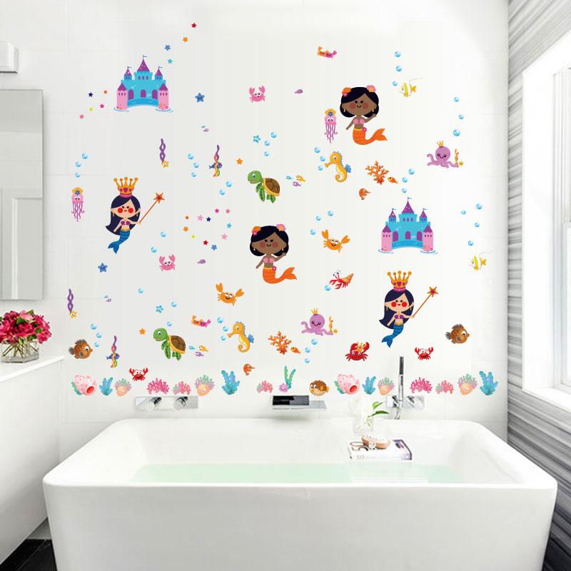 Fundecor Cartoon Unterwasser Castle Meerjungfrau Kinder Wandaufkleber Fr Mdchen Zimmer Bad Fliesen Aufkleber