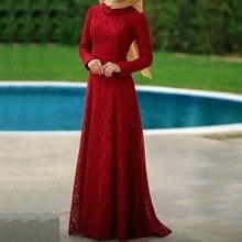 Arabisch Lange Abendkleider Kleider Red Vintage Frauen Kaftan Dubai Abendkleider Spitze Langarm Muslimischen Abendkleid 2017