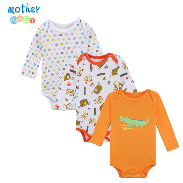 Mother Nest 3 Pieces/lot Cartoon Style Baby Girl Boy Autumn Clothes New Born Body Baby Ropa Next Baby Bodysuit