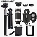 ORBMART Kits 8X Telescópio Lente Da Câmera Do Telefone Móvel + 3 em 1 lente olho de peixe + extensível handheld selfie vara + bluetooth obturador