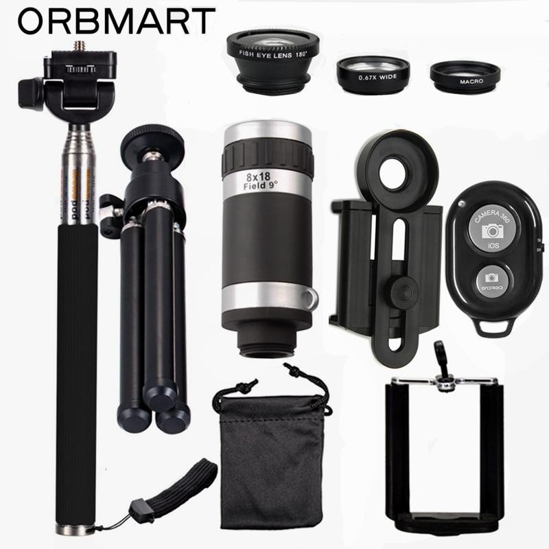 imágenes para ORBMART Kits Lente de la Cámara 8X Telescopio Del Teléfono Móvil + 3 en 1 lente ojo de pez + extensible handheld selfie stick + bluetooth obturador