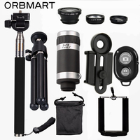 ORBMART Mobile Phone Camera Lens Kits 8X Telescope 3 In 1 Fish Eye Lens Extendable Handheld