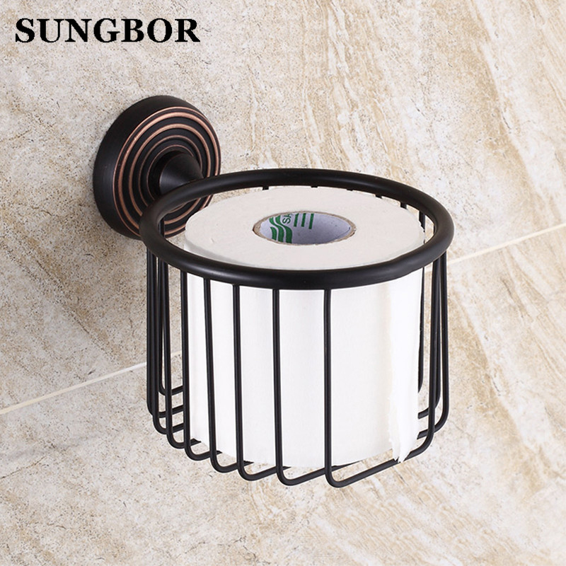 Bathroom Toilet Paper Holder Paper Roll Basket Holder Oil Rubbed Black Brass Toilet Tissue box Paper Storage Rack GJ-5407H panda style cute tissue roll box small gadget trash black