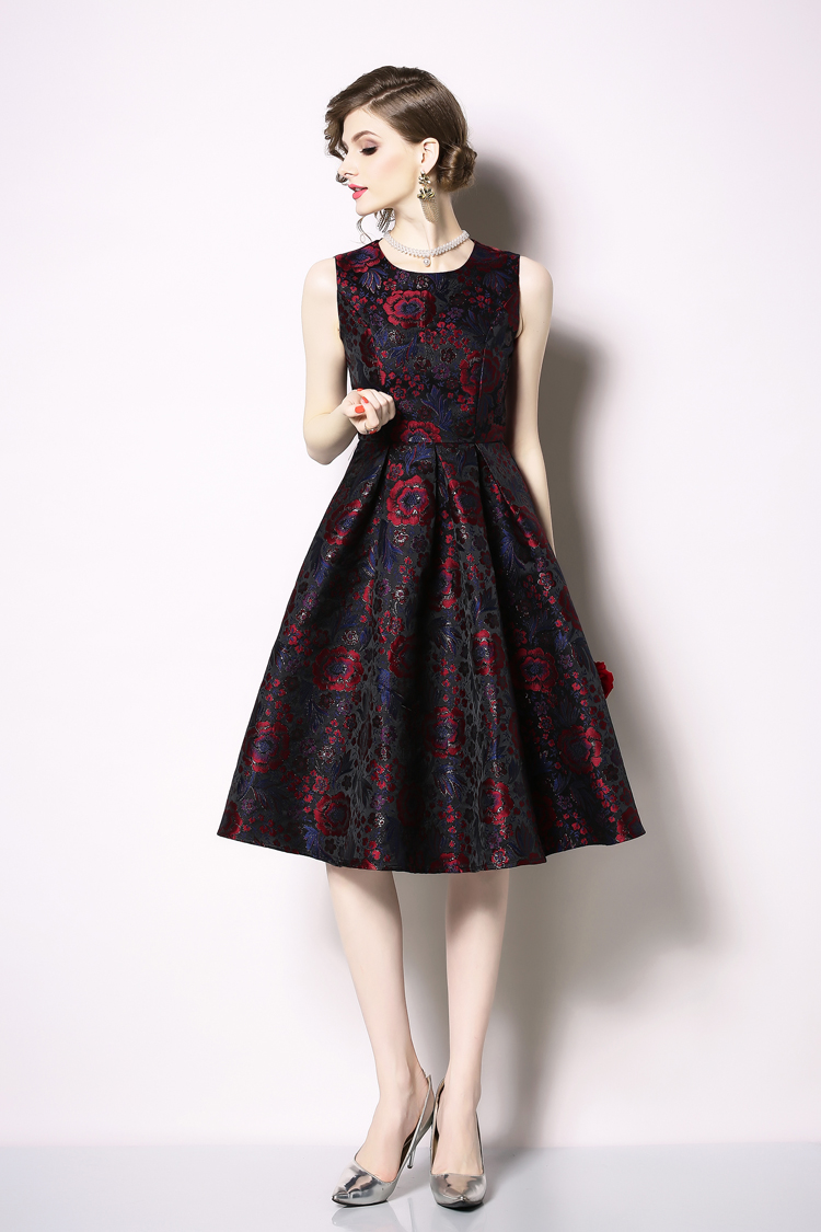 Elegant Sleeveless Printed Vintage Swing Dress 15