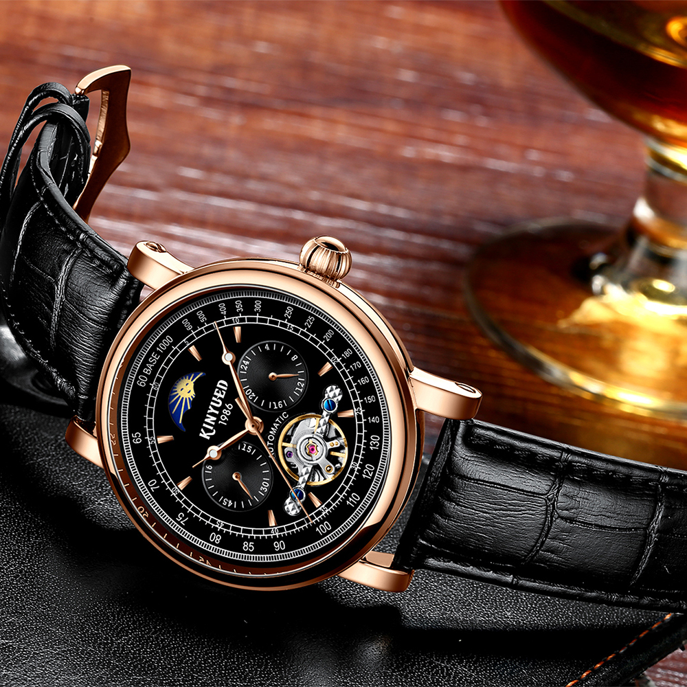 KINYUED Relogio Masculino Automatic Mechanical Tourbillon Watches Men Top Brand Luxury Leather Band Tourbillon Skeleton Watch