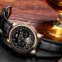 Reloj Masculino KINYUED  Tourbillon mecánico automático  relojes de hombre de marca superior de cuero de lujo  reloj Tourbillon Skeleton
