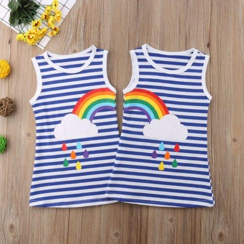 rainbow strip twin toddler girl summer mini dress