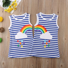 Summer Blue Striped Dress Matching Sister Outfits