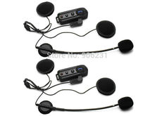 Free shipping! 2*1000m Interphone Bluetooth Motorcycle Motorbike Helmet Intercom Headset FM