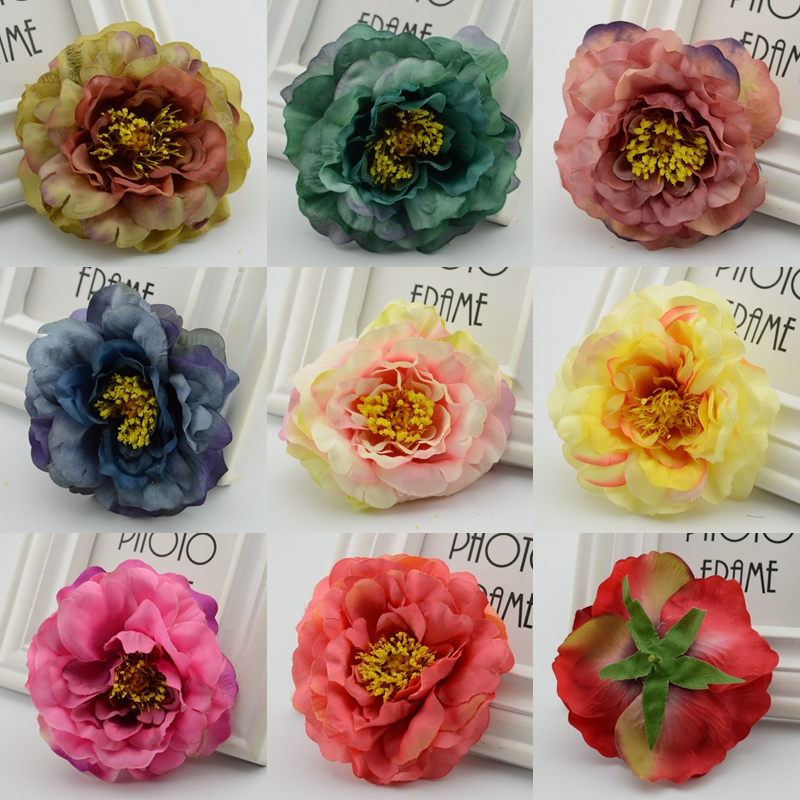 5 unids vivid de otoño europeo de seda peonía cabezas de las flores artificiales