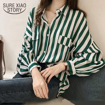 57f6b391b5c4 2019 otoño mujer nueva moda rayas mujeres tops y Blusa de manga larga talla  grande ropa femenina 4XL femenina blusas 1010 40