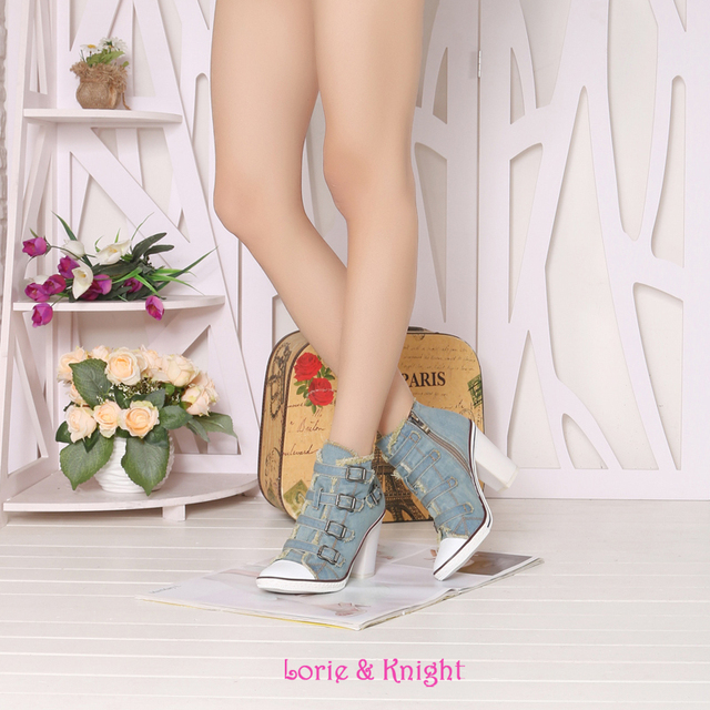 Ladies Vintage Blue Denim Canvas High Heels Girl Casual Jean Pumps Sexy Cool Buckle Punk Party Shoes