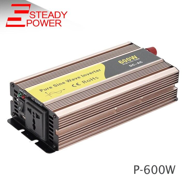 цена на 24v to 220v intelligent dc/ac power invertor 600w pure sine wave inverter P-600W