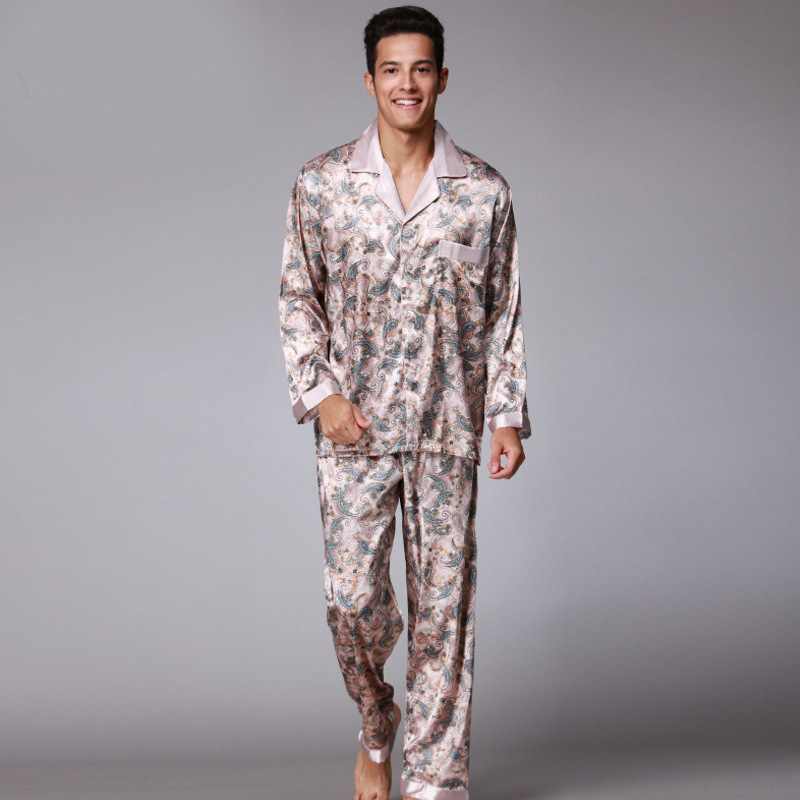 SSH003 Printed Satin Silk Mens   Pajamas   High Quality Male Nightgown Sleepwear Autumn Spring Full Sleeves Pants 2Pieces   Pajama     Set