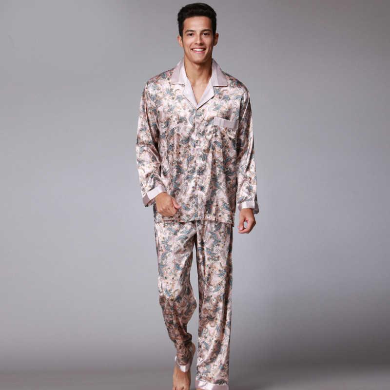 14194c21acea1 SSH003 печатных атласные шелковые мужские пижамы высокое качество Мужская  Ночная рубашка Осень Весна Длинные рукава брюки