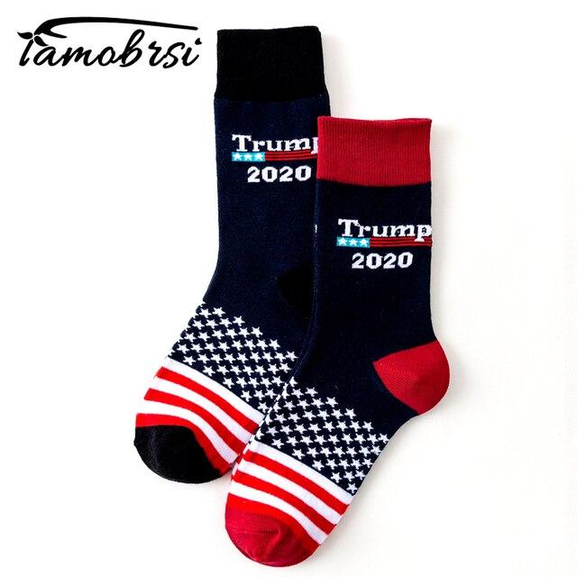 Cool Trump America National Flag Stars stripes Socks Funny Women's Casual Socks Men Short Socks Happy 100 Cotton Black Socks