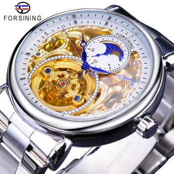 Forsining 2019 White Golden Skeleton Wrist Watches Blue Hands Silver Stainless Steel Men Mechanical Watch Waterproof Design mce men s fashionable stainless steel band analog mechanical watch silver white