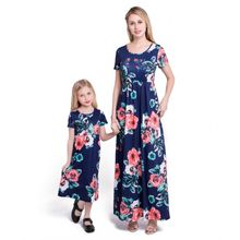 Family Matching Short Sleeve Rose Floral Printed Long Maxi Dress O-Neck Mommy Daughter Loose Pullover Beach Sundress With Pocket linda johnston o alias mommy