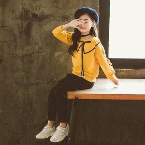 Image 2 - בנות בגדים סטי אביב סתיו ילדים ארוך שרוול חולצות + מכנסיים חליפה חדש הילדה Outewear ילדי בגדי סט 4 13Y