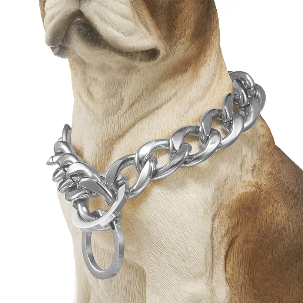 Adjustable Pet Dog 19mm Stainless Steel Chain Choker Collar Strong Silver Gold Chrome Steel Metal Training Product