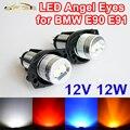 2 Peças (1 Conjunto) 2*6 W Bridgelux LEVOU Chips de 12 W LED Marcador Angel Eyes Branco/azul/Vermelho/Cor Amarela para BMW E90 E91