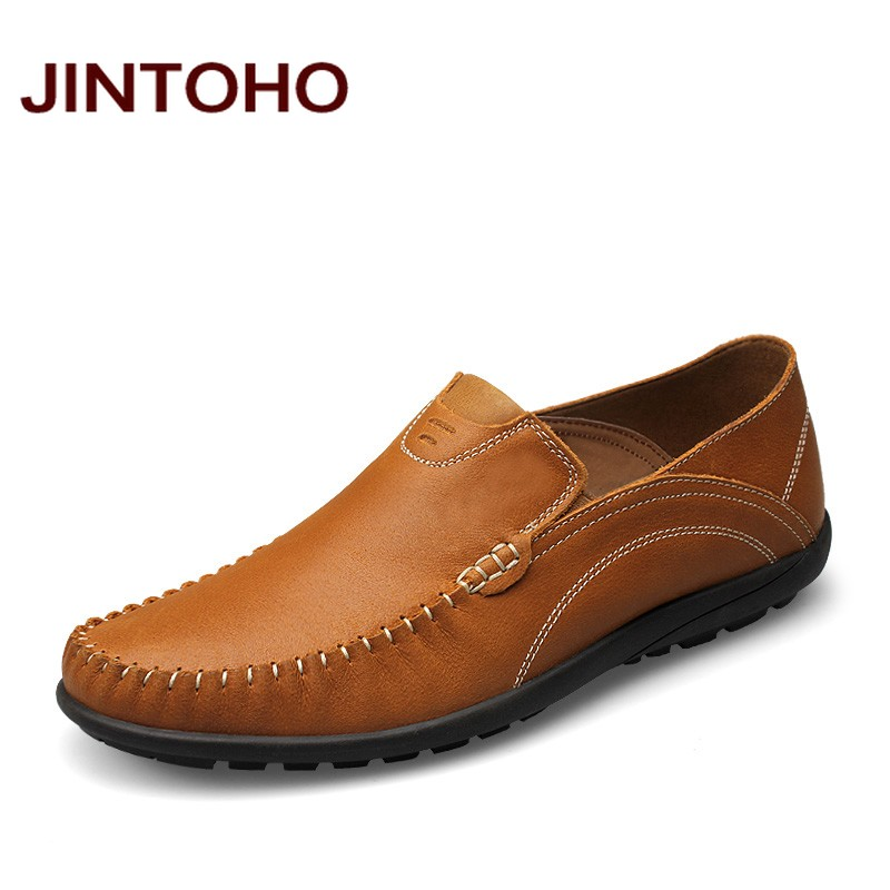 JINTOHO big size 37-46 mens genuine leather casual shoes slip on men loafers luxury brand moccasins italian men flats shoes npezkgc new casual mens shoes suede men loafers moccasins fashion low slip on men flats shoes oxfords shoes big size 45 46 47 48