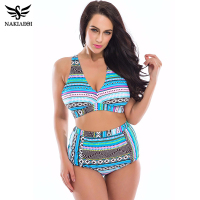 Plus Size Swimwear 2016 New High Waist Swimsuit Wonmen Bikini Bathing Suits Print Vintage Retro Floral