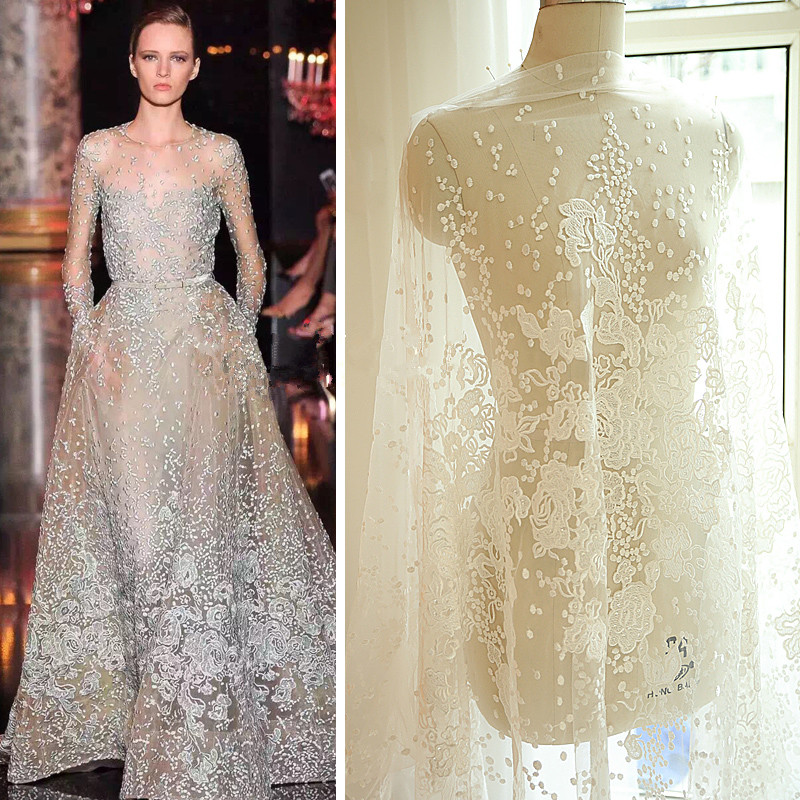 Ivory White Red Black Luxury Sequins Embroidery Bud Silk Fabrics Dress Wedding Material