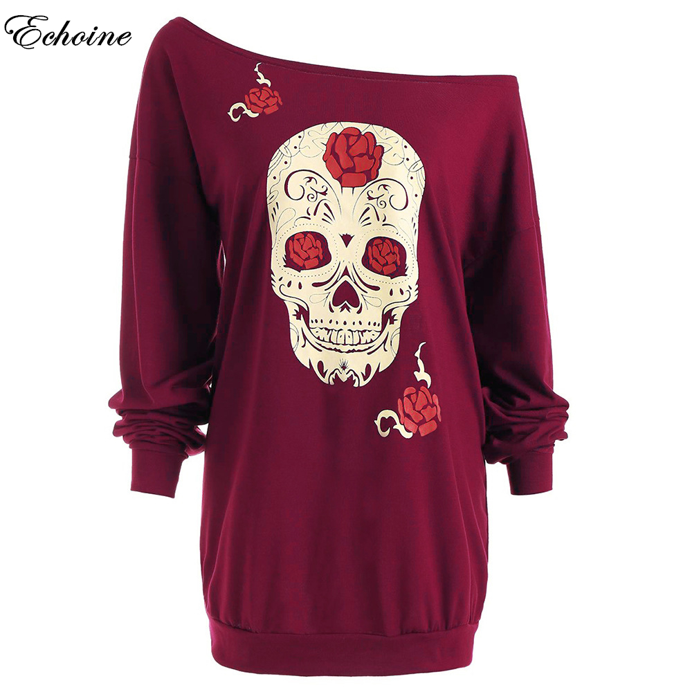 Echoine Print Punk Rove Skull Halloween Dress Women Color Retro Vintage Autumn Long Sleeve Sexy Casual Mini Shift Shirt Dresses