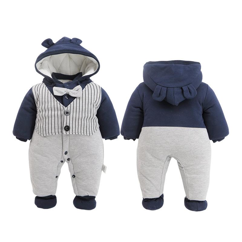 Newborn Rompers Winter cotton Thick Warm Baby boy girl Clothes baby Long Sleeve Hooded Jumpsuit Kids Outwear for 0 24M