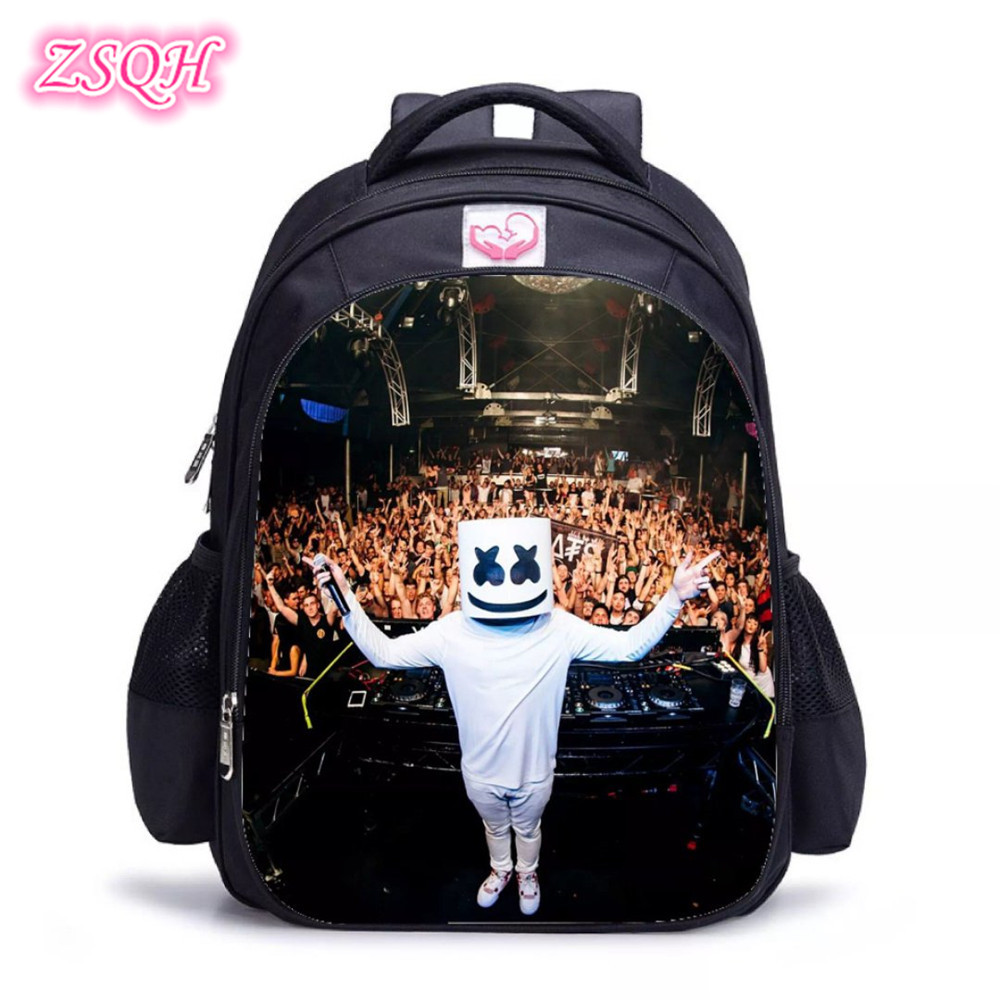 ZSQH DJ Marshmello Fashion Backpacks 7 Color DJ Marshmello New Cosplay Costume Prop For Kids Girl Boy Marshmallo School Bags