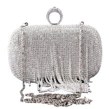 Rhinestone Tassels Ring Clutch Bag Women Vintage Shoulder Clutches Purse Female Sliver Fashion Party Wedding Chain Evening Bags beautiful flamingo crystal wedding clutch bags crystal clutches purse women evening bags ladies handbag