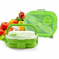 WALFOS 2 Capas de Silicona de Colores Caja de Almuerzo Bento Lunch Box Con Mango de Silicona de Silicona Portátil Caja de Almuerzo Para Los Niños