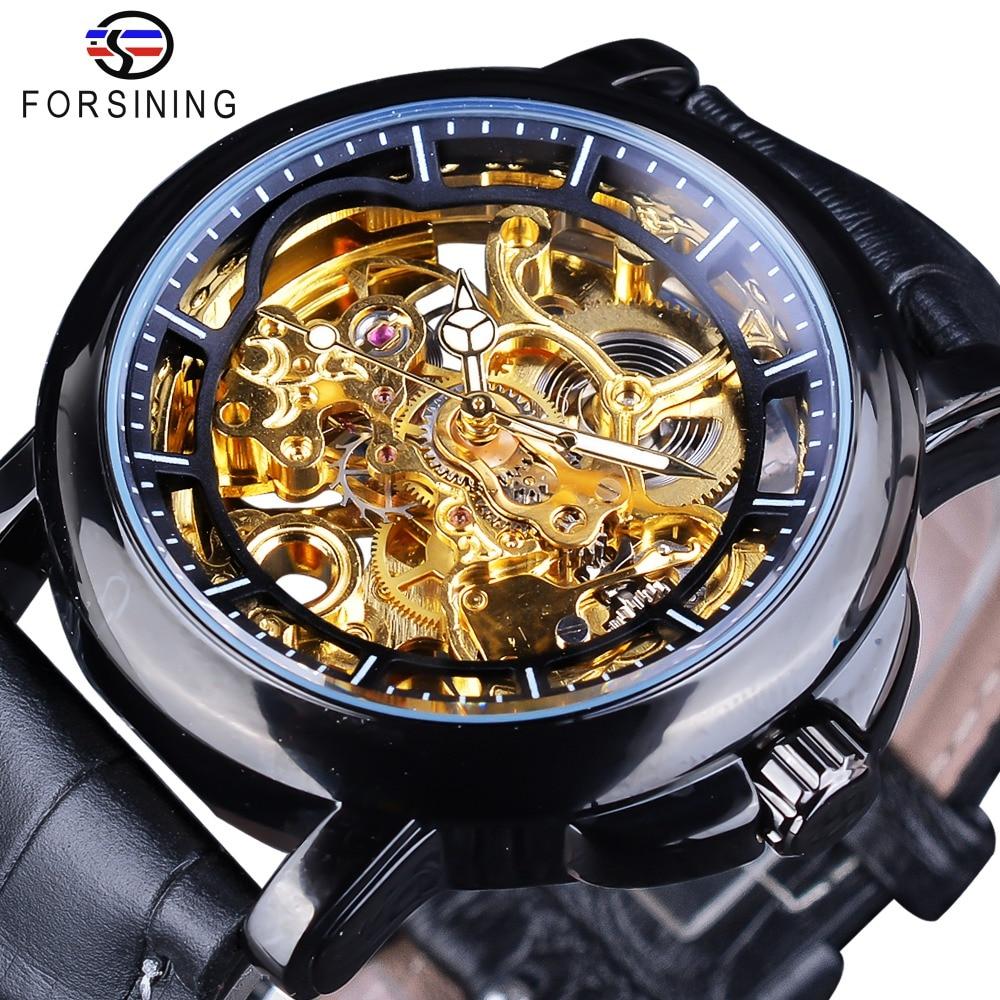 Forsining Royal Flower Carving Gear Golden Movement Transparent Leather Bezel Mens Mechanical Watch Top Brand Luxury Male Clock