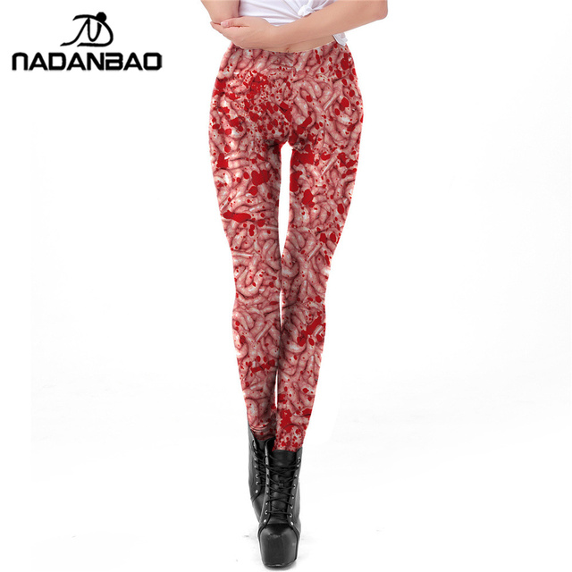 d1f5782d6a5 NADANBAO Ugly Intestines Halloween Leggings Blood Stained Plus Size Slim  Hot Pants Digital Printed Fitness Workout Leggins Woman