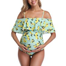 Maternity Swimsuit Suspender Fruits One-strap Sling Print Elegant Lady Swimsuit Pregnancy One Piece Swimwear Hawaii Style(China)