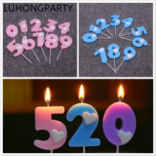 Birthday Number Candle Pink Blue Cake Cupcake Topper Party Decoration Supply